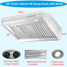 30  Under Cabinet Stainless Steel Range Hood Exhaust Air Fan Cook Stove 800CFM