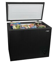 7 cu ft Chest Freezer  Black easy clean balanced hinge removable storage basket