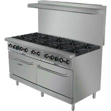 STAINLESS STEEL 10 BURNER GAS STOVE WITH 2 OVENS  60  WIDE  360 000 TOTAL BTU