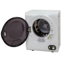 White Compact Electric Dryer Wall Mountable Small Loads Left Swing 120v Vented