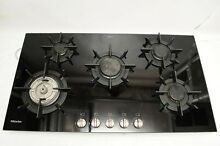 Miele KM391G 36 Inch Cooktop w  5 Sealed Burners  Stainless Steel Knobs in Black