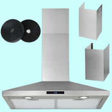 30 Inch Wall Mount Range Hood Touch Control Carbon Filter Extra Duct LED Light
