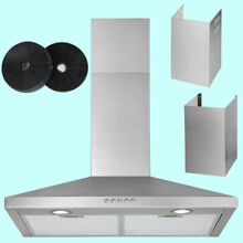 30 Inch Wall Mount Range Hood Carbon Filter Extra Duct 3 Speeds Kitchen Vent Fan