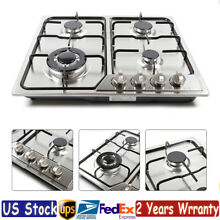 580 520mm Built in Gas Cooktop 4 Burners Stainless Steel NG LPG Stove Cooking US