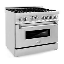 ZLINE 36 Inch Professional Stainless Steel Gas Range Cooktop Oven with 6 Burners