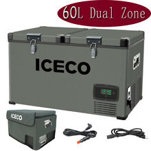 ICECO VL60 63 Quart Dual Zone Car Portable Fridge Refrigerator Camp Travel Truck