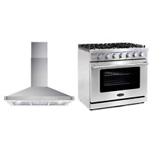 Cosmo 36 Inch 6 Cubic Foot Gas Range Convection Oven and Wall Mount Range Hood