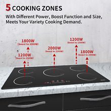 Built in Electric Induction Cooktop 36inch 5 Burner Stove Touch Control Timer