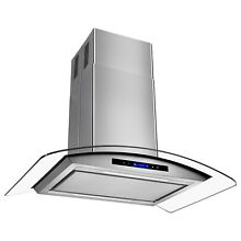 36  Island Mount Stainless Steel Kitchen Range Hood Noise Reduction Panel Design