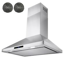 30  Stainless Steel Wall Mount Range Hood Touch Screen Panel Kitchen Ductless