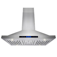 36  Stainless Steel Island Range Hood Remote Dual LED Touch Screen Display Fan