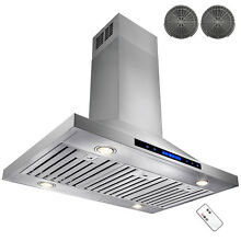 36  Stainless Steel Island Range Hood Remote Dual LED Touch Screen Ductless