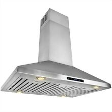 36  Stainless Steel Island Mount Range Hood Touch Screen Ductless Cooking Fan