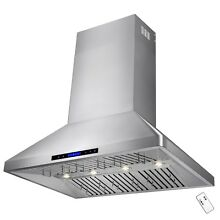48  Stainless Steel Wall Mount with Touch Screen Dual Motor Display Range Hood