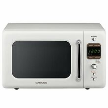 Daewoo Retro 0 7 CuFt 700W Microwave With 5 Auto Cook Programs   KOR 7LRE White