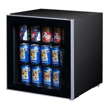 65W 60Can New Beverage Mini Refrigerator Fridge with Glass Door Freezer Icebox