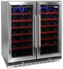 30 Inch Wide Dual Zone Undercounter Wine Cooler 66 Bottle Capacity Refrigerator