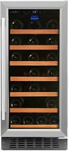 34 Bottle Single Zone Stainless Steel Wine Cooler Undercounter Home Refrigerator