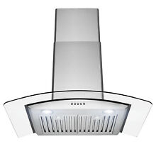 30  Wall Mount Stainless Steel Push Panel Kitchen Range Hood Cooking Fan