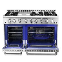 Gas Range 48  Thor Kitchen Double Oven Stainless Steel Griddle 6 Burner HRG4808U