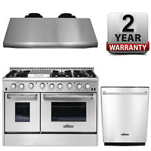 Gas Range 48  Thor Kitchen Double Oven Professional Appliance Package HRG4808U