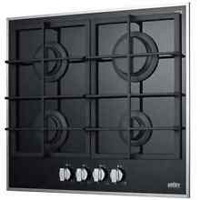 Summit GC424BGL 4 Burner Gas On Glass Cooktop W Sealed Burners   Cast Iron Grate