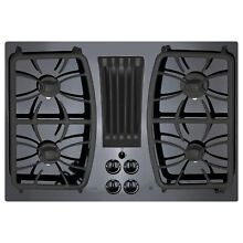 GE Profile Series Black 30 inch Built in Gas Downdraft Cooktop