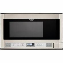 Sharp R 1214 1 1 2 Cubic Feet 1100 Watt Over the Counter Microwave  Stainless