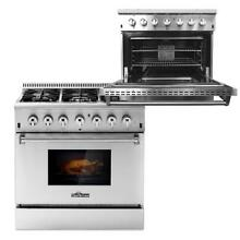 THOR KITCHEN 36  6 Burner Dual Fuel Gas Range Electric Oven Stainless Steel K9Q2