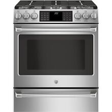 GE Caf  Series 30  Slide In Front Control Dual Fuel Range with Warming Drawer