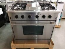 NEW OUT OF BOX THOR KITCHEN 36  GAS RANGE STAINLESS STEEL 4 BURNER AND GRIDDLE