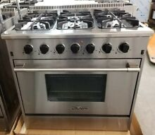 NEW LAST YEARS MODEL IN THE BOX THOR KITCHEN 36  GAS RANGE 6 BURNER STAINLESS