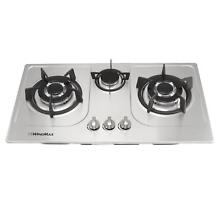 30  Stainless Steel 3 Burners Built In Cooktop NG LPG Gas Cooker Kitchen Home