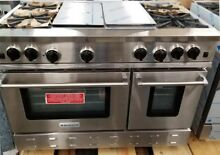 BLUE STAR 48  RANGE WITH 4 BURNERS  CHARBROIL GRILL AND GRIDDLE STAINLESS STEEL