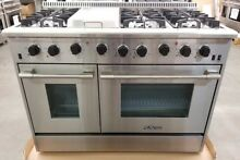 NEW LAST YEARS MODEL THOR KITCHEN 48  STAINLESS RANGE 6 BURNER  GRIDDLE 2 OVENS