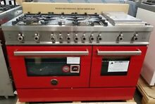 NEW OUT OF BOX BERTAZZONI 48  PRO RANGE 6 BURNERS GRIDDLE 2 OVENS RED
