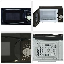 Small Countertop Microwave Black Compact Even Cooking Glass Turntable Child Safe