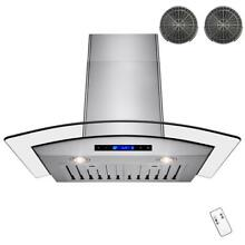 Akdy 30  Convertible Wall Mount Kitchen Range Hood Stainless Steel Arched Glass
