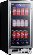 EdgeStar CBR902SG 15 Inch Wide 80 Can Built In Beverage Cooler with Blue LED Lig