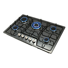 Stainless Steel 30  Black Titanium   5 Burner Built In Stove LPG NG Gas Cooktop