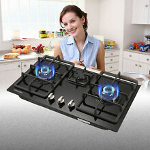 Black Gas Hob Cooktop with Glass Kitchen Hob 30 Built in 3 Burne