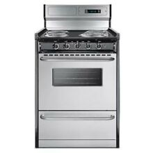 Summit TEM630BKWY 24  Freestanding Electric Range with Electronic Ignition  Cloc