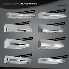 Cosmo 30 inch Range Hood 900 CFM Ducted Under Cabinet Stainless Steel   Silver