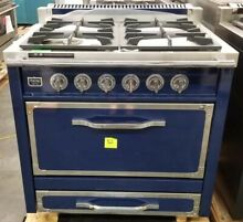 VIKING TUSCANY SERIES 36  DUAL FUEL RANGE DARK BLUE WITH STAINLESS TRIM