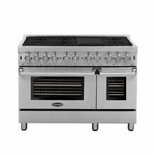 Commercial Style 48 In  5 8 Cu  Ft  Double Oven Dual Fuel Range with 6 Sealed