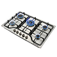 30inch METAWELL Stainless Steel 5 Burners Built in Stove Cooktop Natural Gas Hob