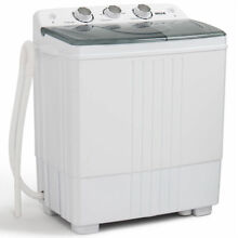Portable Mini Washing Machine Compact Twin Tub 11lb Washer Spin