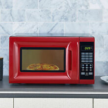 Countertop Microwave Oven 700W w Removable Rotating Glass Turntable Red 0 7 cuft