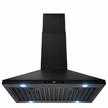 AKDY 30  Island Mount Black Painted Stainless Steel Touch Panel Range Hood