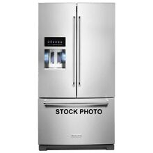 KITCHENAID FRENCH DOOR 36  REFRIGERATOR WITH ICE AND WATER IN DOOR STAINLESS